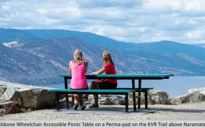 Wishbone Wheelchair Accessible Picnic Table on a Perma-pad on the KVR Trail above Naramata BC